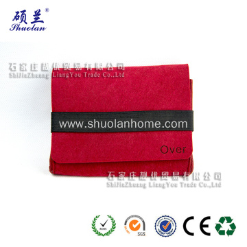 Red felt mobile phone bag with elastic band